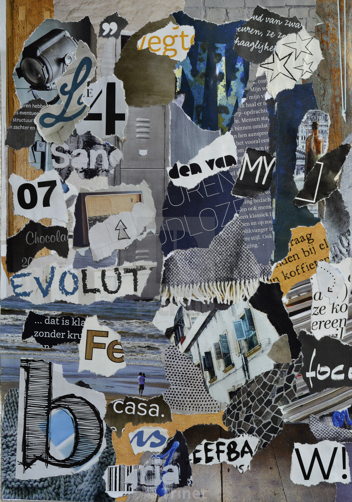 Modern blue grey collage moodboard - License, download or print for