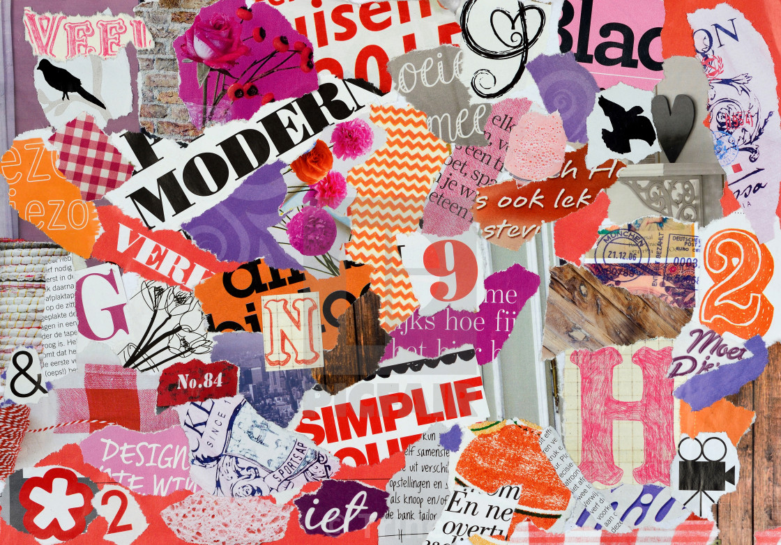 Retro and vintage image  Modern red pink and orange craft collage