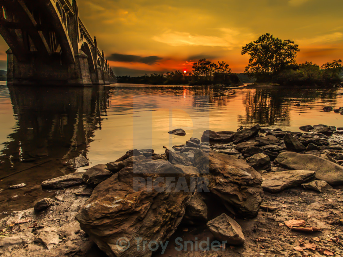 """Bridge into Sunset"" stock image"