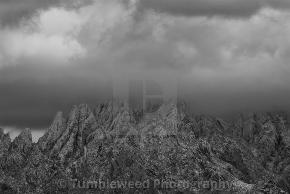 """Black and White Snowy Mountain"" stock image"
