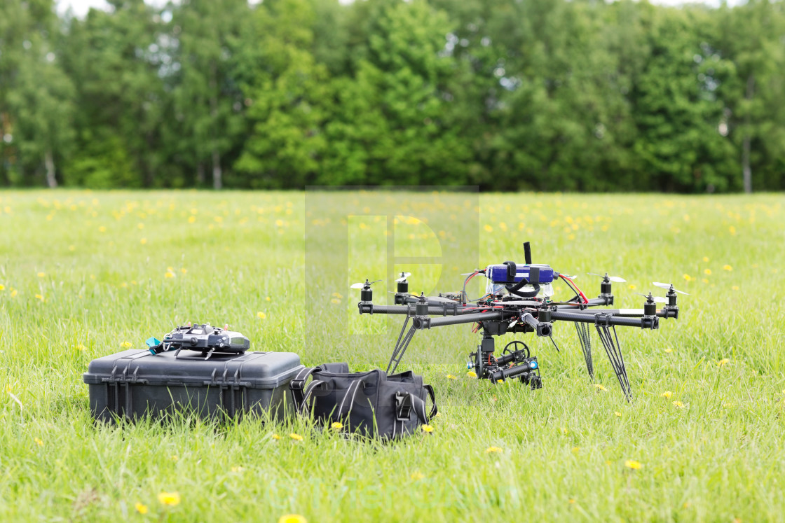 """UAV Helicopter With Toolbox And Bag"" stock image"