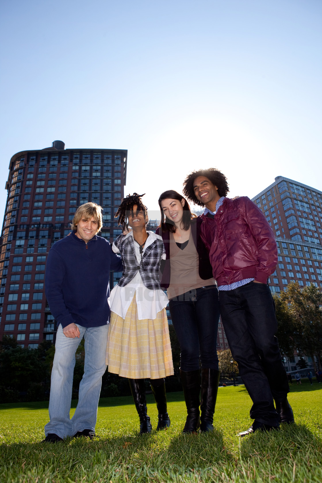"""""""Four People in Urban Park"""" stock image"""