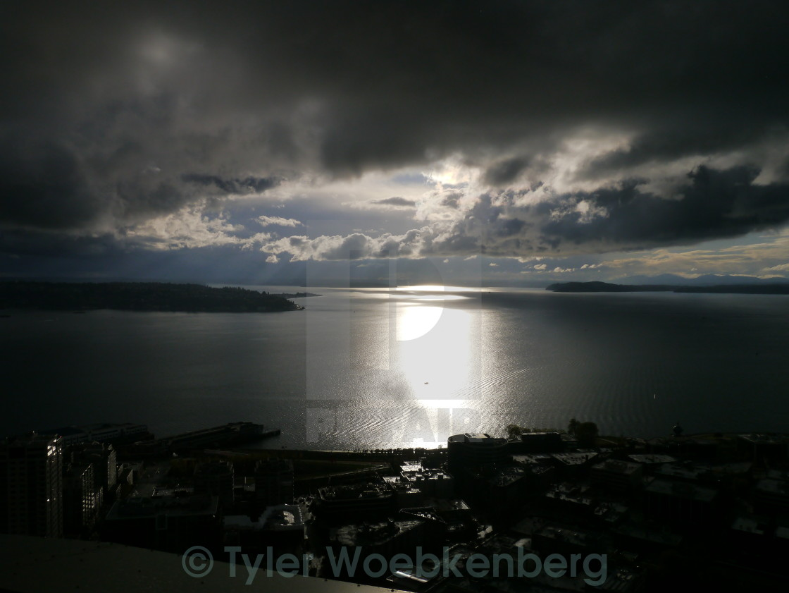 """""""Sun over Pugent Sound"""" stock image"""