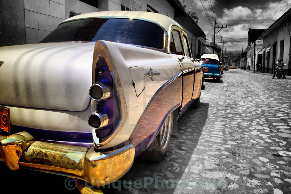 """Classic American car on the street"" stock image"
