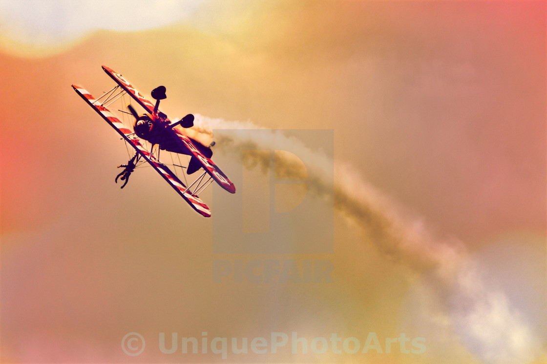 """Wing walker barrel roll"" stock image"