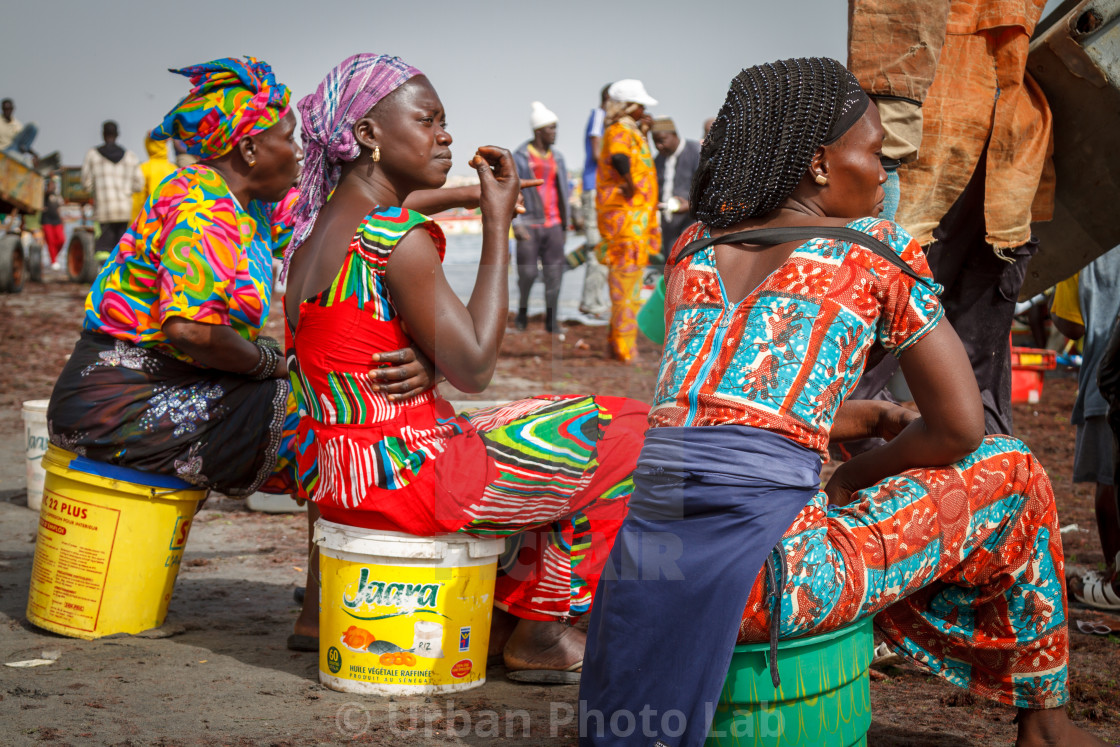 """Three African women colourfully dressed"" stock image"