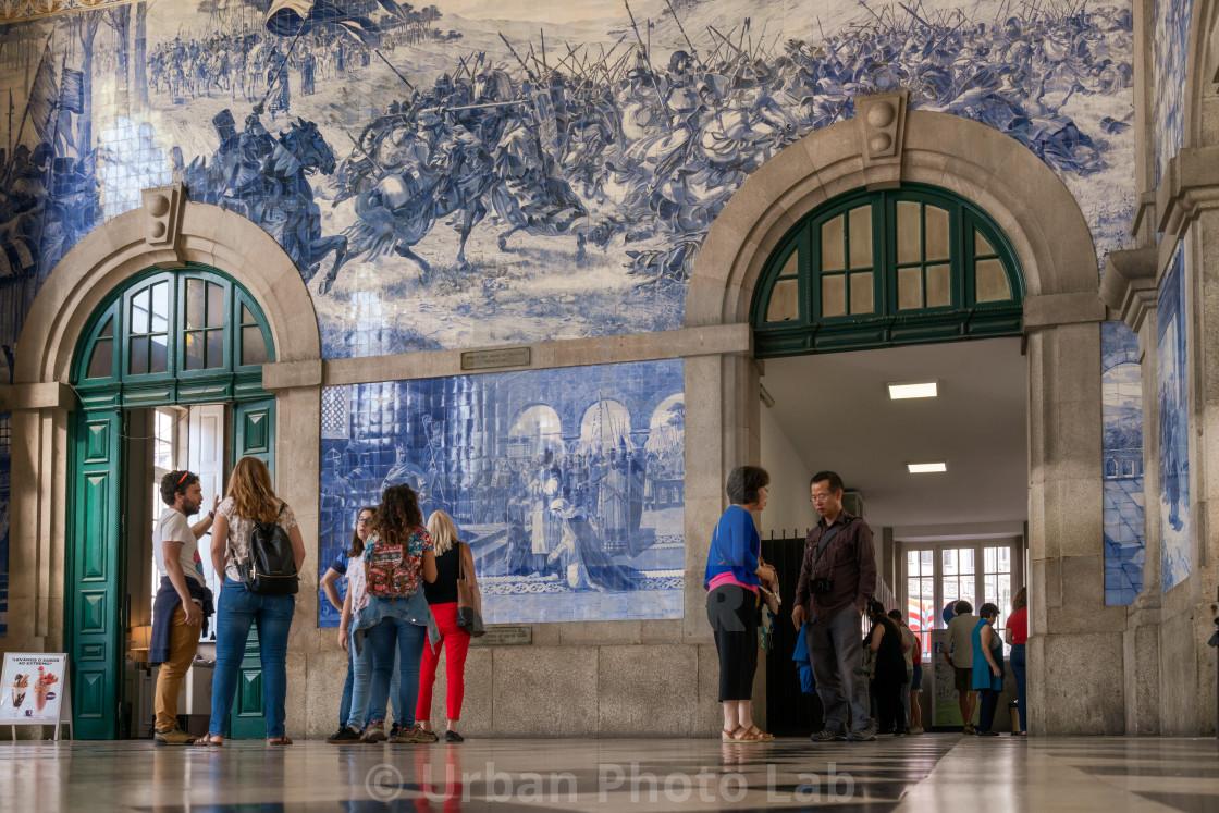 """""""People in the vestibule of Sao Bento Railway"""" stock image"""