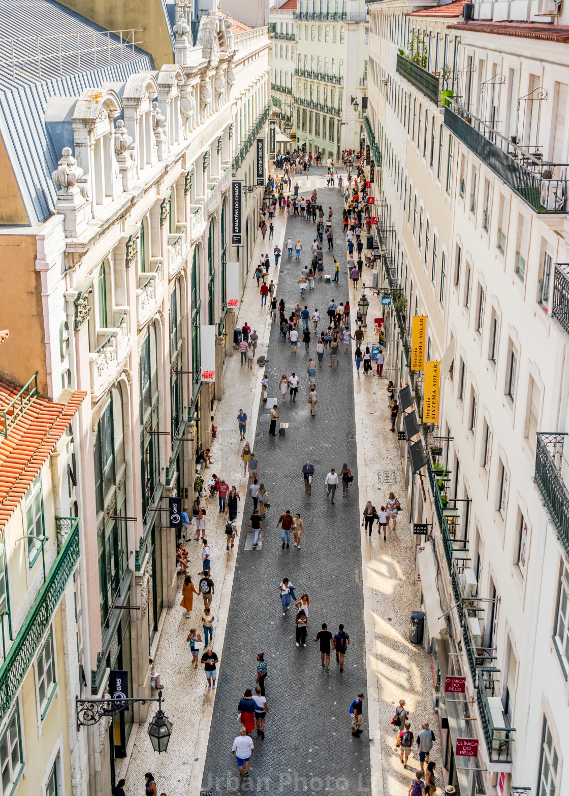 """Busy shopping street in Lisbon"" stock image"
