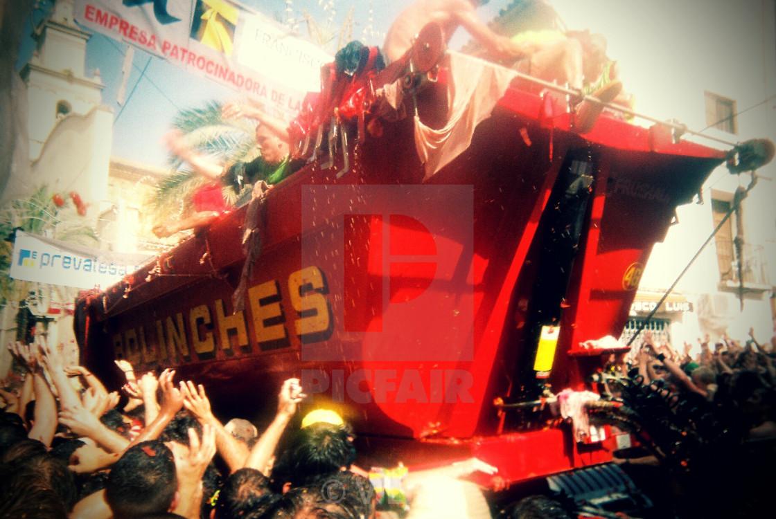 """La Tomatina truck"" stock image"