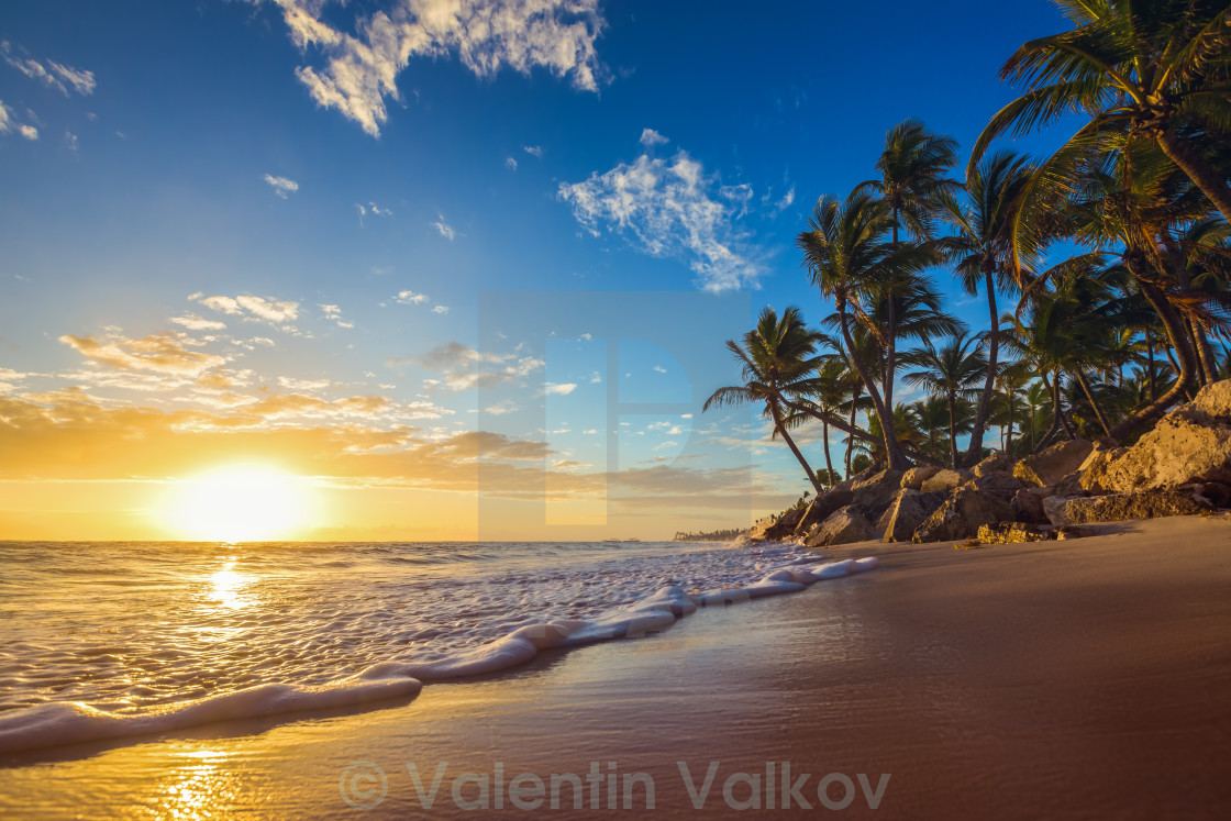 """Landscape of paradise tropical island beach, sunrise shot"" stock image"