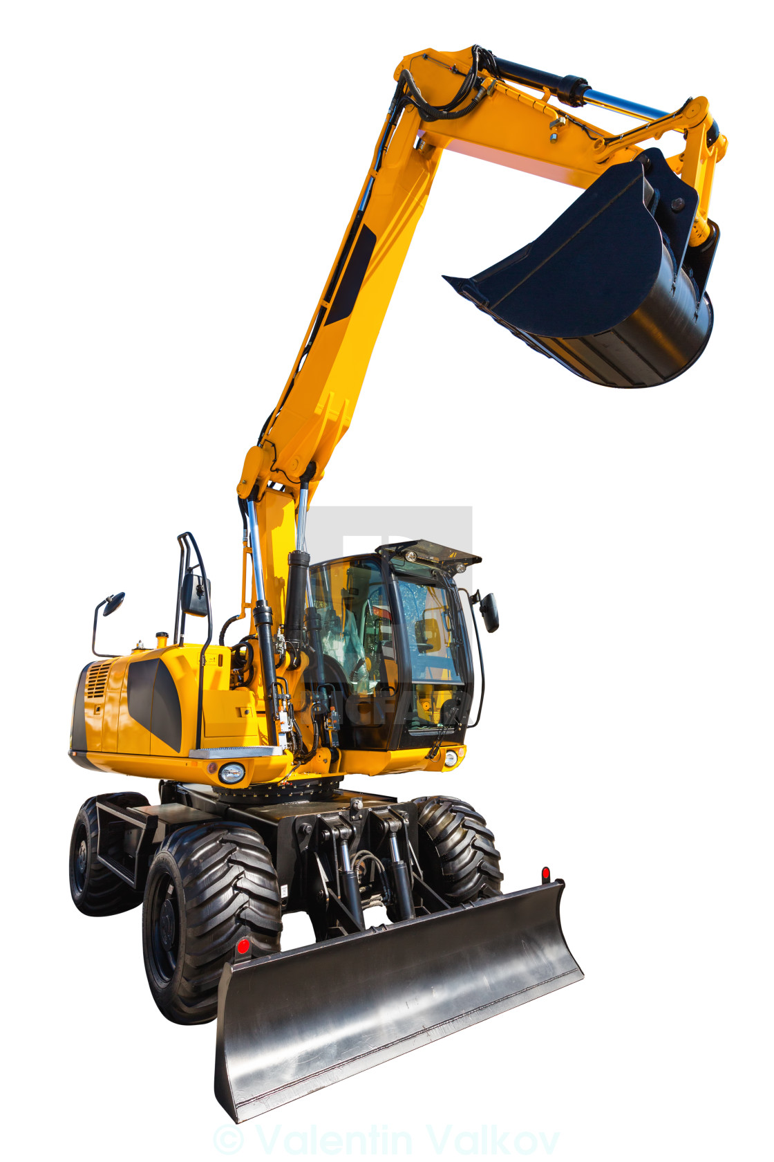 """New and modern yellow excavator machines isolated on white"" stock image"