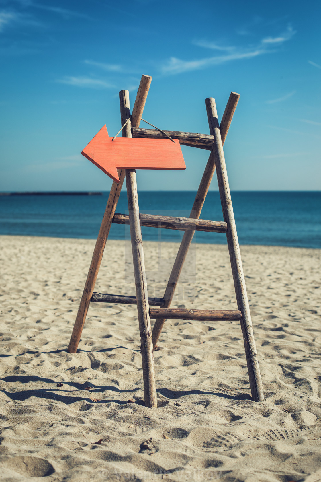 """""""Wooden handmade signpost on the tropic beach."""" stock image"""