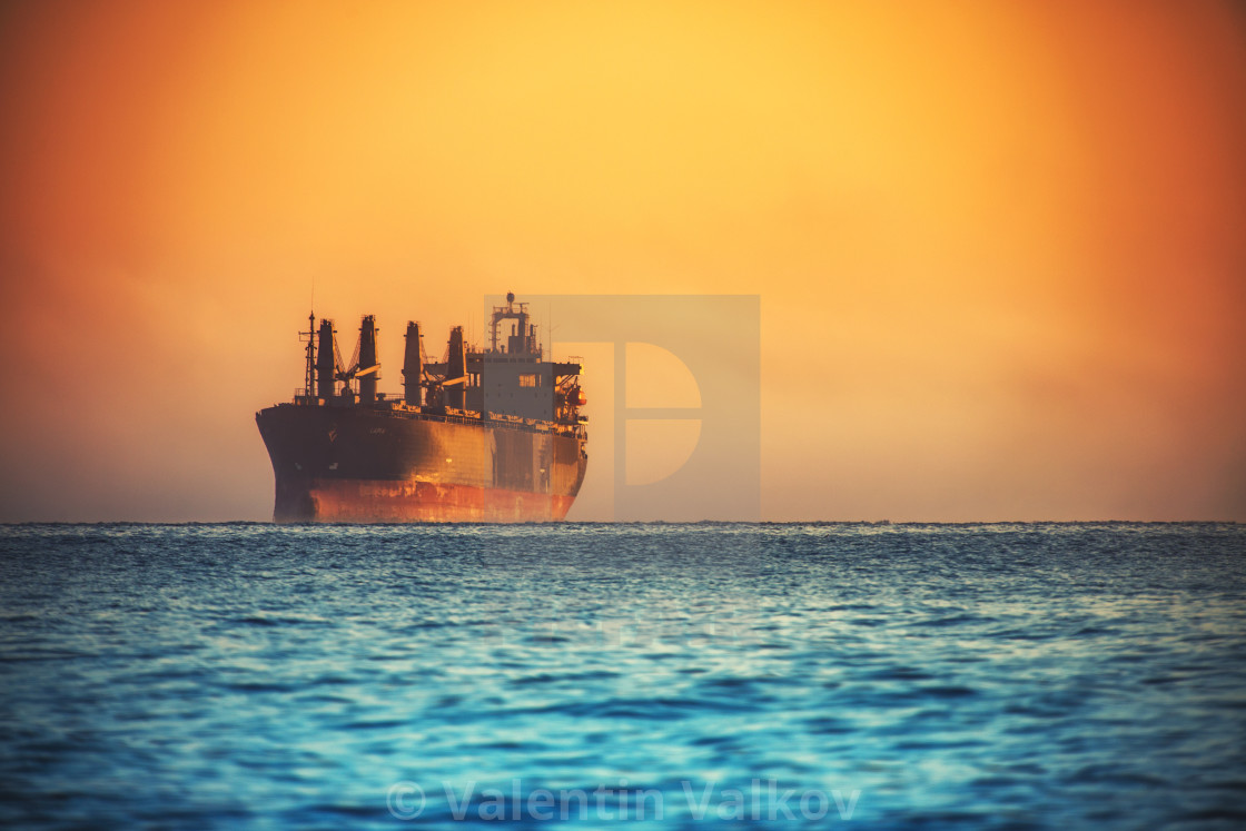 """Morning sunrise over sea"" stock image"