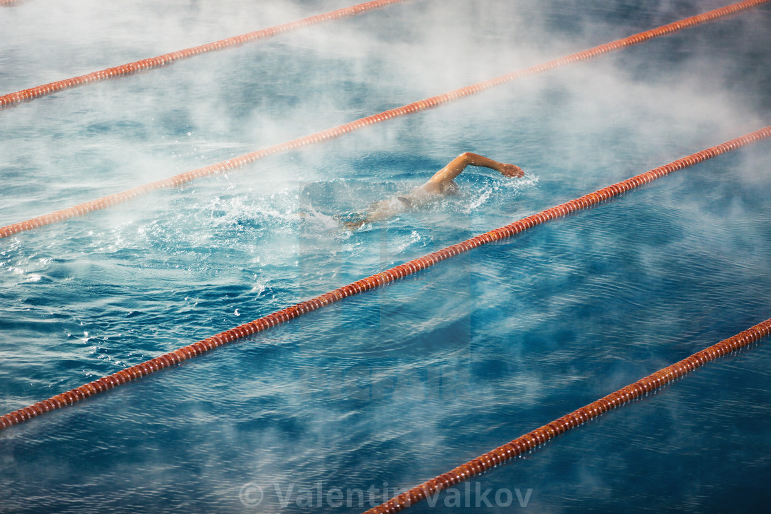 """Morning fog at Swimming pool"" stock image"