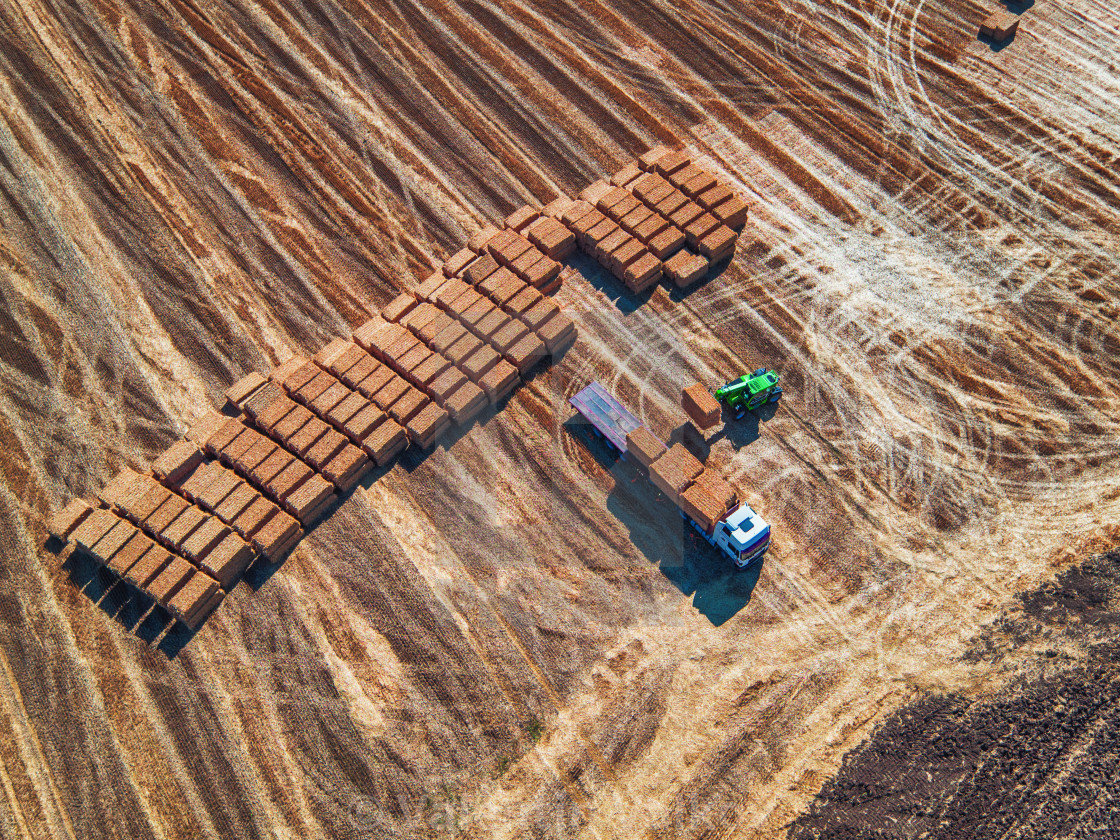 """Aerial view of harvest field and hay bales"" stock image"
