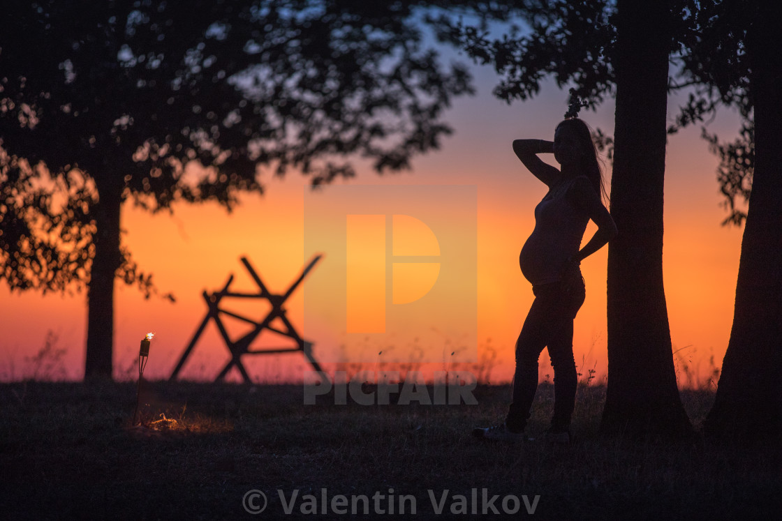 """""""Silhouette of a pregnant girl in a field at sunset"""" stock image"""