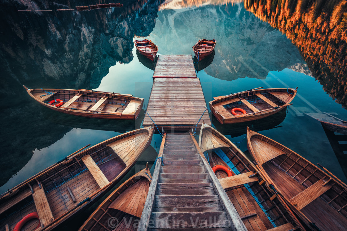 """Boats on the Braies Lake ( Pragser Wildsee ) in Dolomites mounta"" stock image"