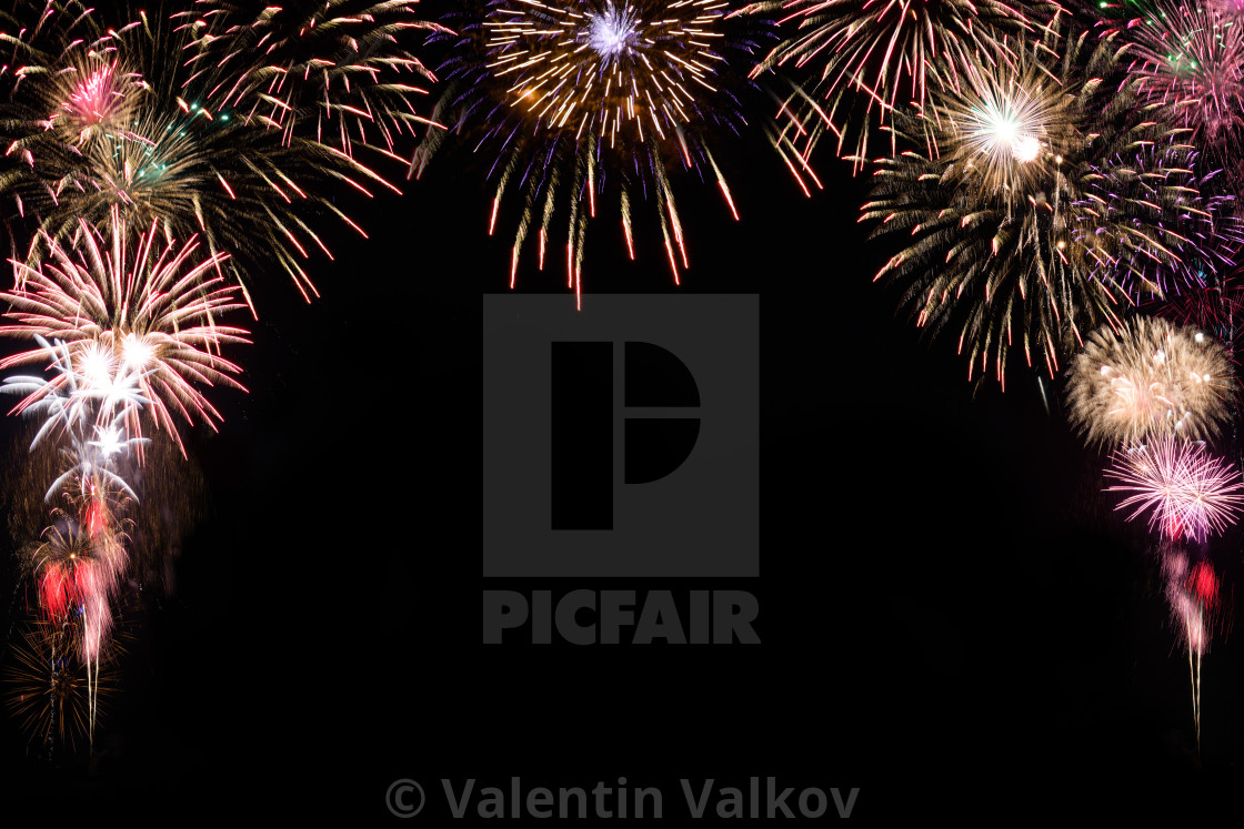 sparkle firework on black background happy new year 2018 concep stock image