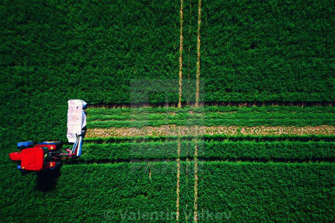 """Tractor mowing green field, aerial view"" stock image"