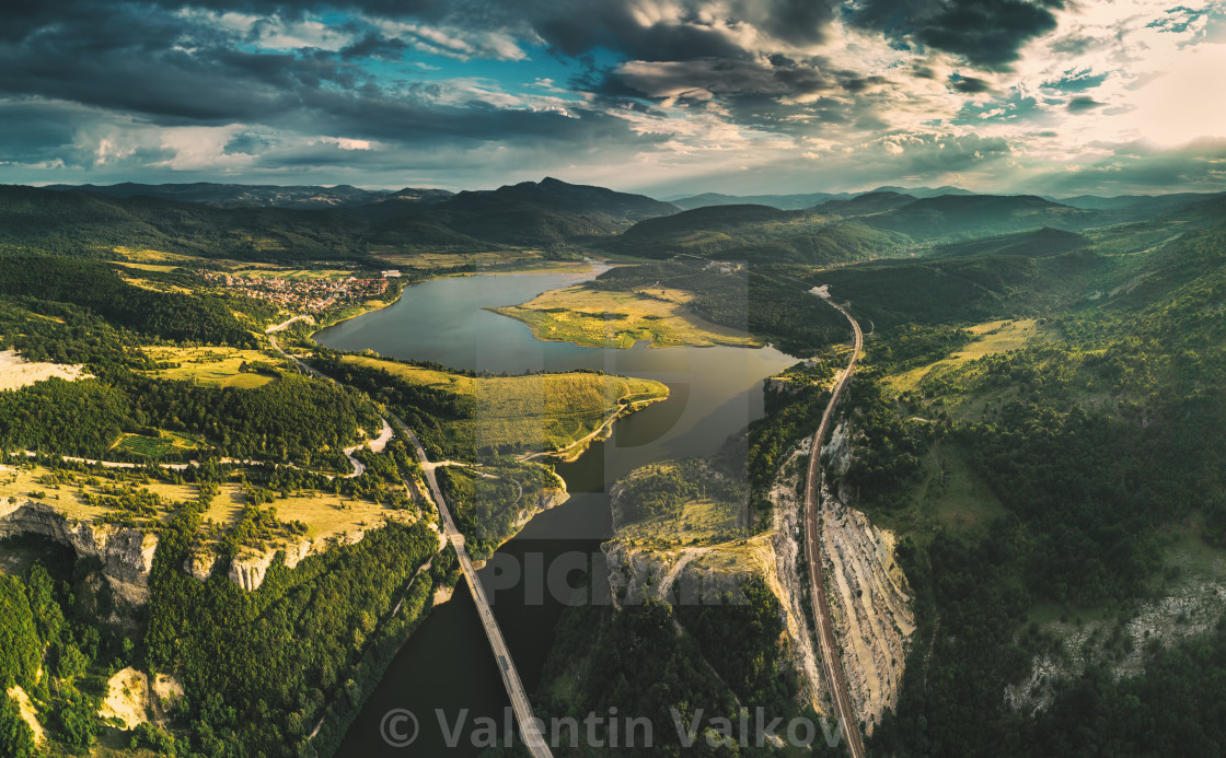 """Aerial view of a bridge crossing the Tsonevo lake near Varna, Bu"" stock image"