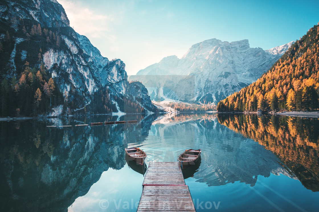 """Boats on the Braies Lake ( Pragser Wildsee ) in Dolomites mounta"" stock image"