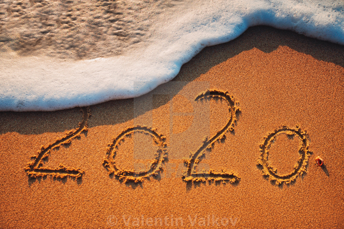 Happy New Year 2020 Concept On The Sea Beach Sunrsie Shot
