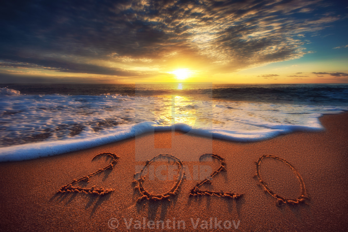 Happy New Year 2020 Concept Lettering On The Beach Sea
