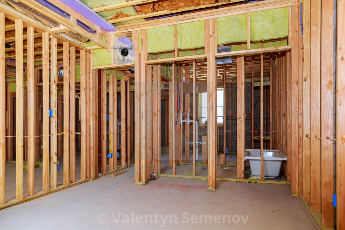 Interior Wall Framing With Piping Installation In The Basement Bathroom Remodel Under Floor Plumbing Work License Download Or Print For 8 68 Photos Picfair
