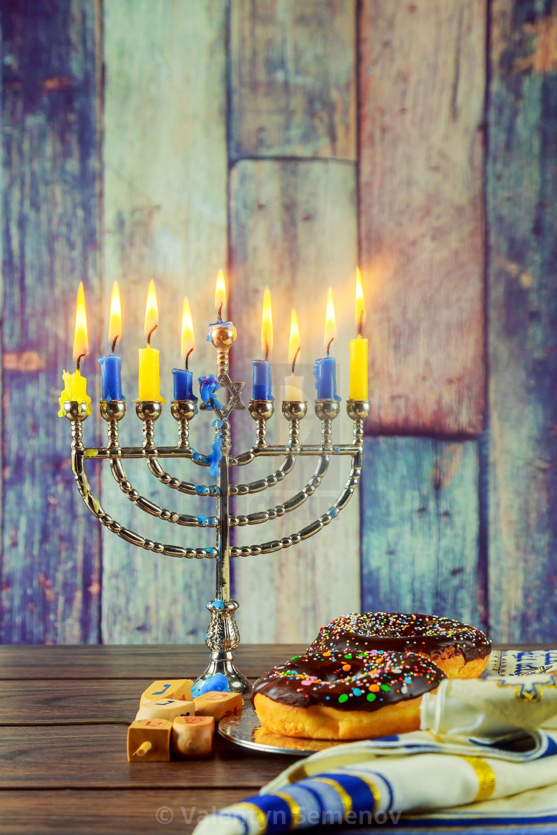 Jewish Holiday Symbol Hanukkah Background With Menorah License For