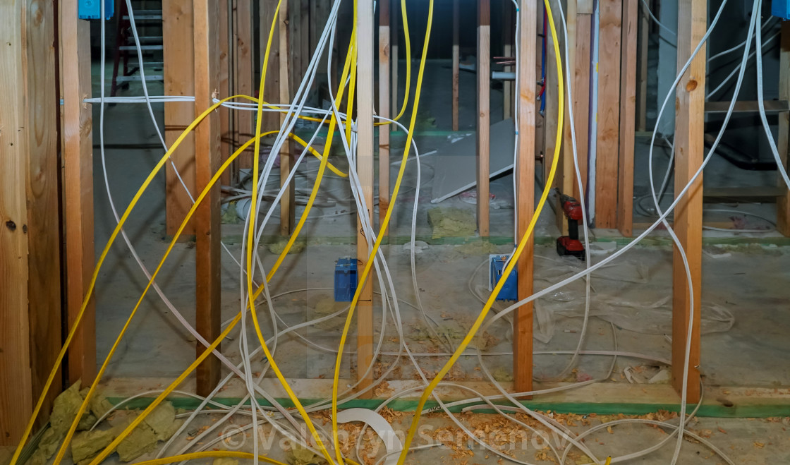 Interior Wall Framing With Piping And Wiring Installed License Download Or Print For 6 82 Photos Picfair