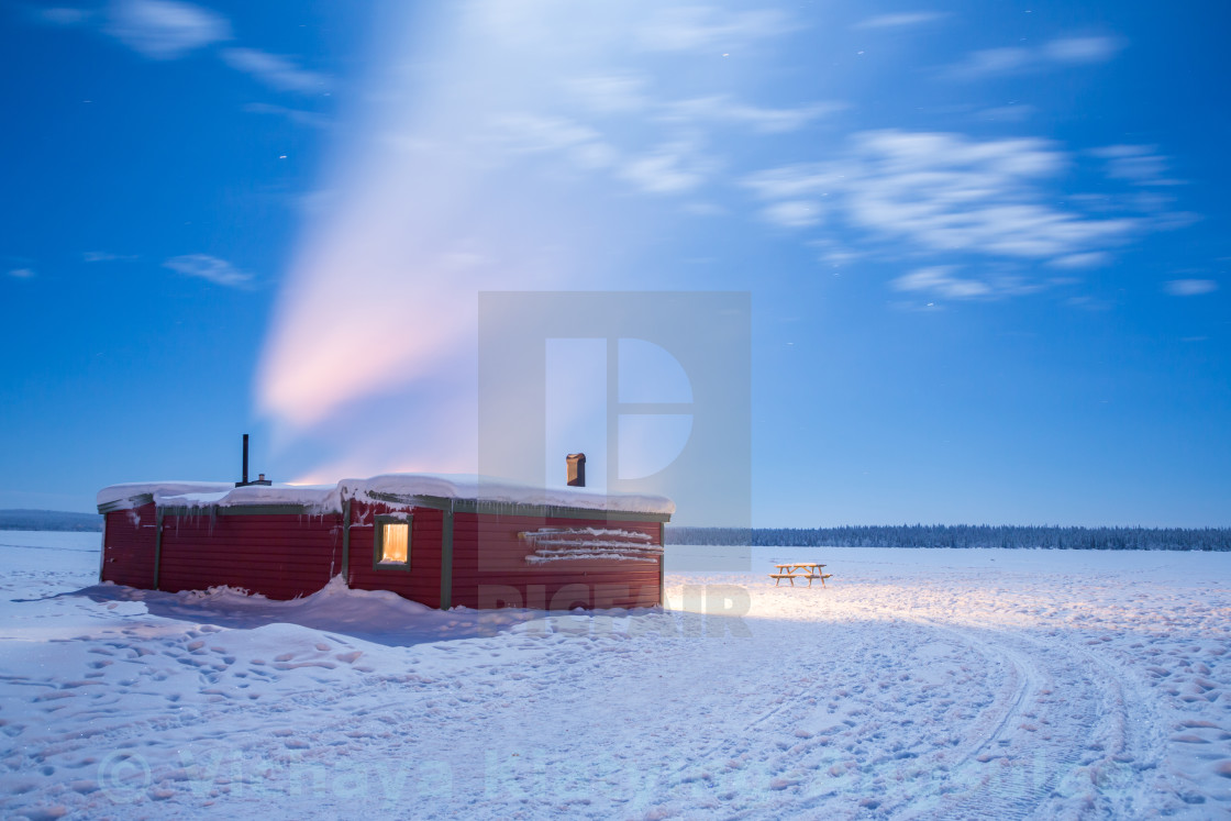 """Winter landscape Sweden lapland Night"" stock image"