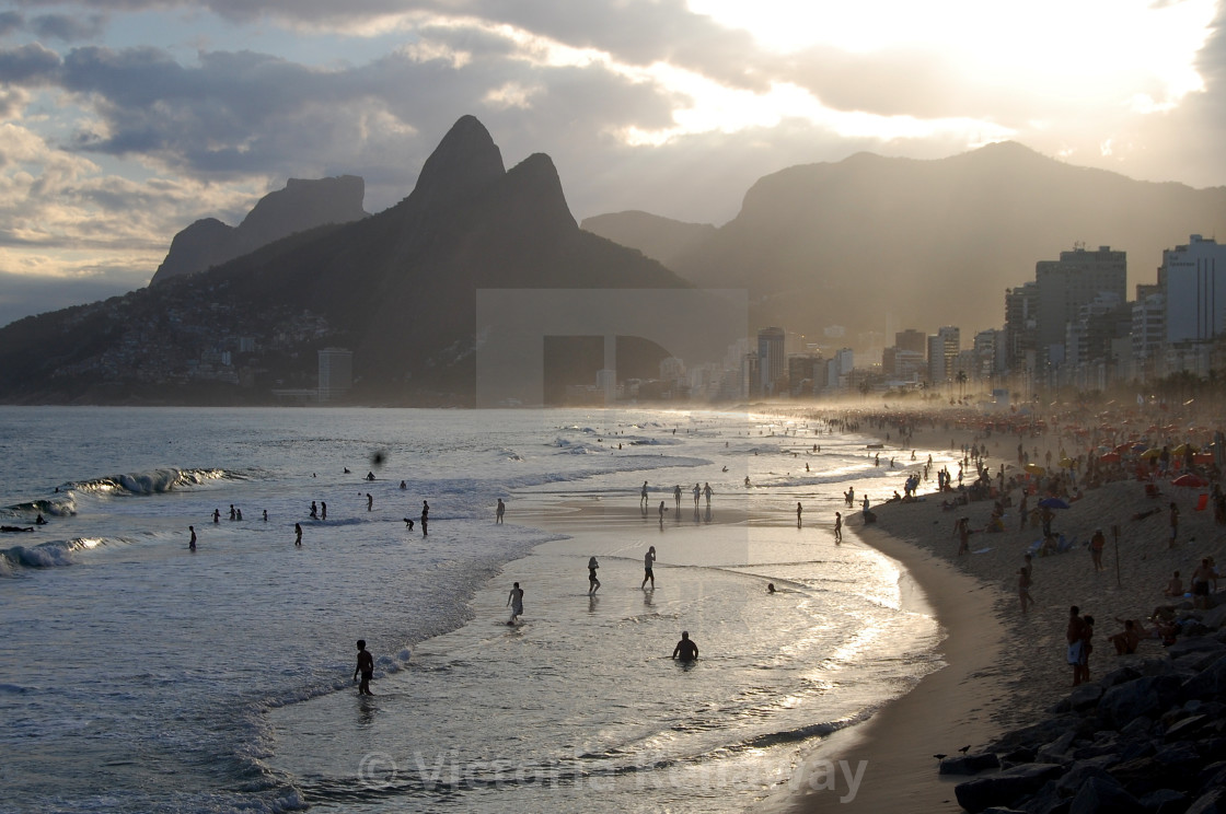 """Ipanema beach at dusk"" stock image"