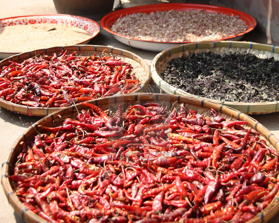 """Drying chillies"" stock image"