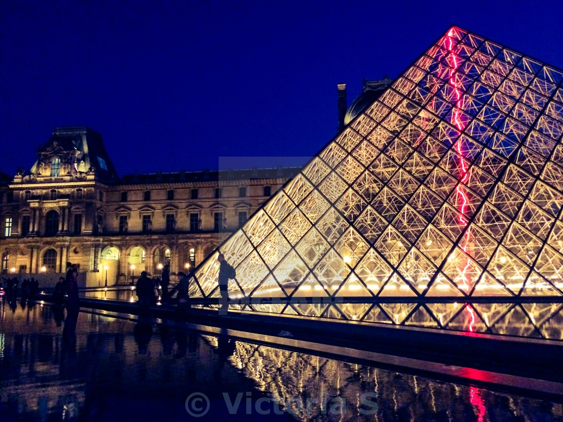"""The Louvre, Paris at Night"" stock image"