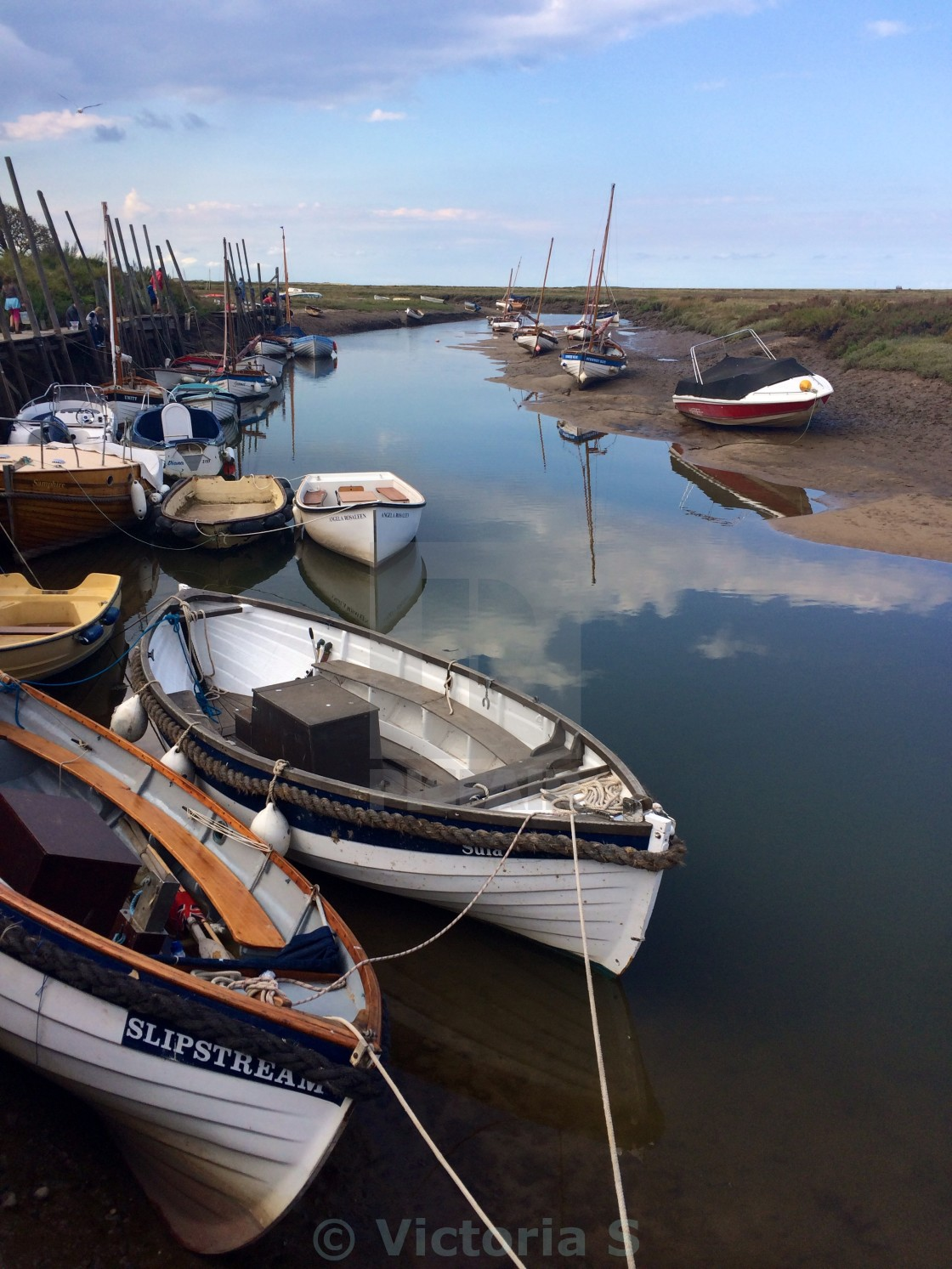 """Boats in Blakeney Harbour"" stock image"