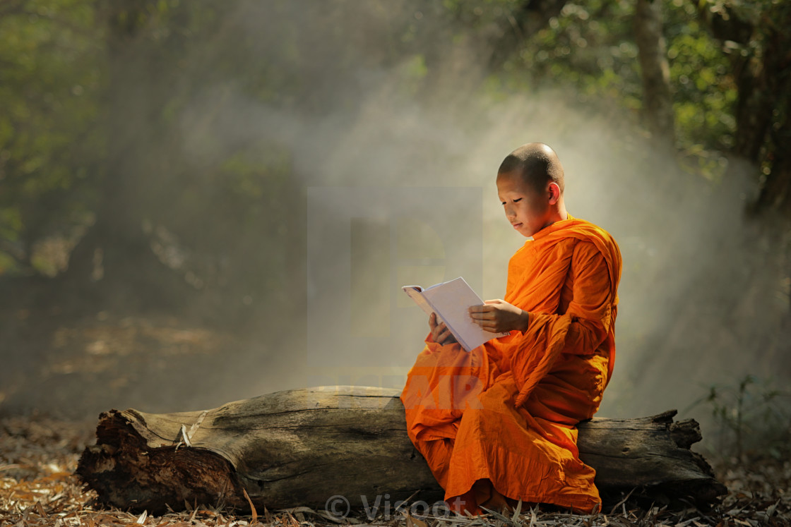 """Novice is learning religion in forest."" stock image"