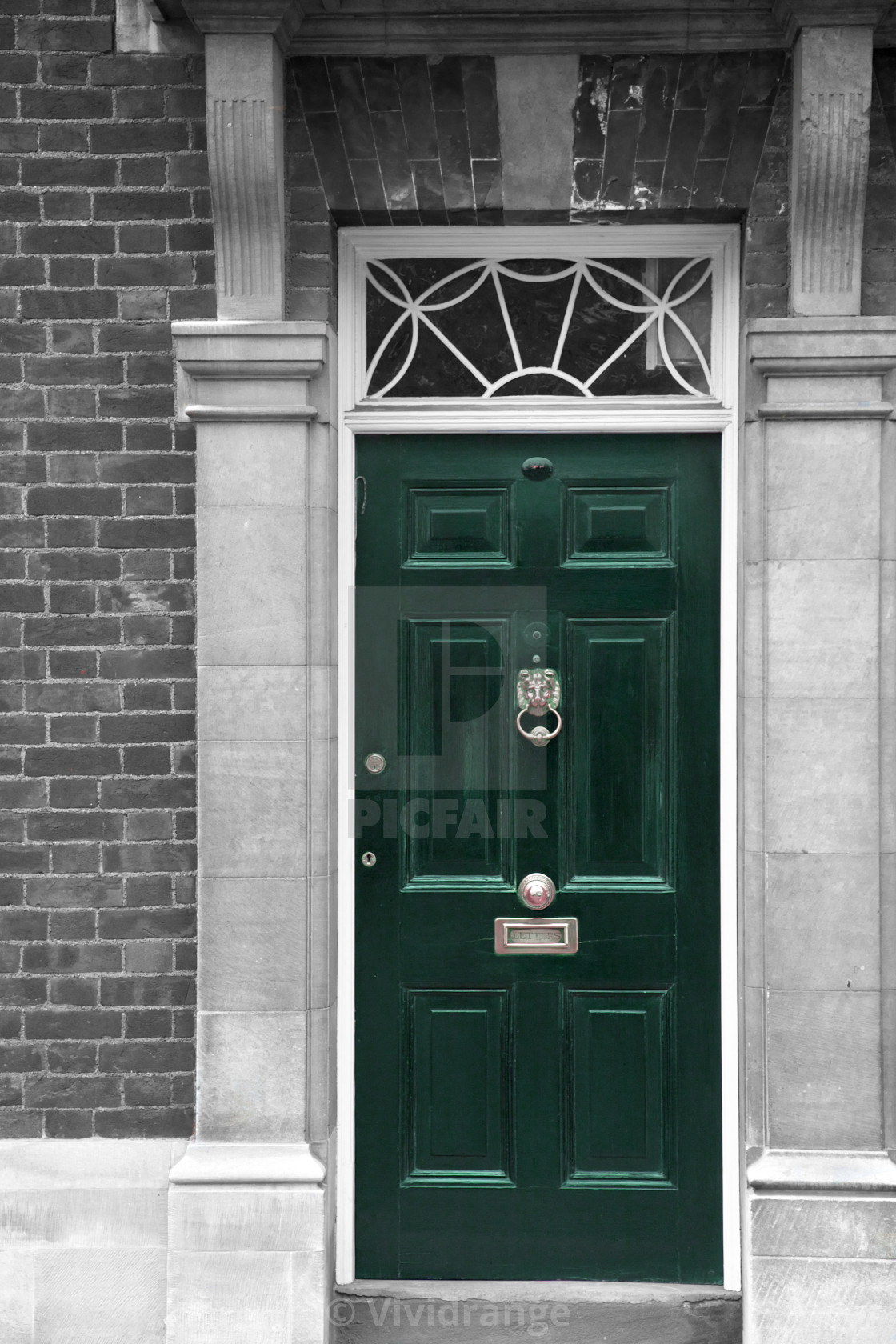"""""""Grand green wooden door, part of a home, London"""" stock image"""