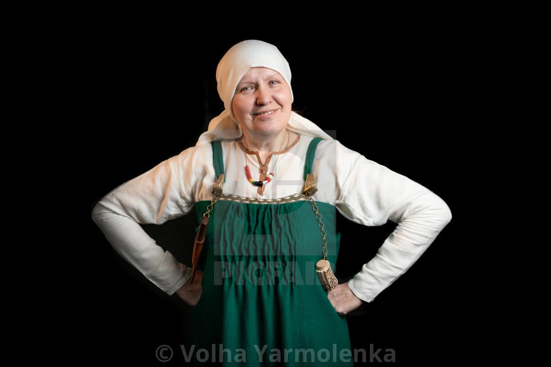 Mature Viking Woman Smiling Half Length Portrait License