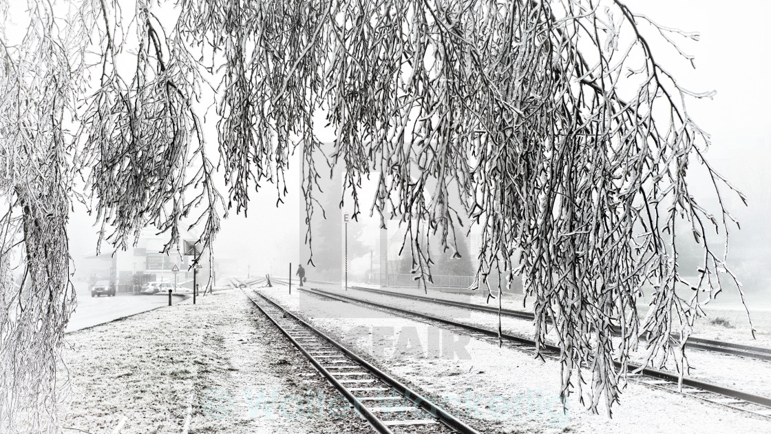 """Frost on the tracks"" stock image"