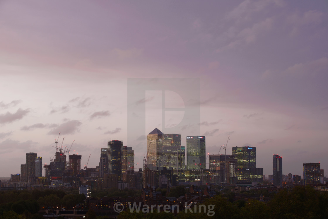 """Canary Wharf at Dusk, London #1"" stock image"