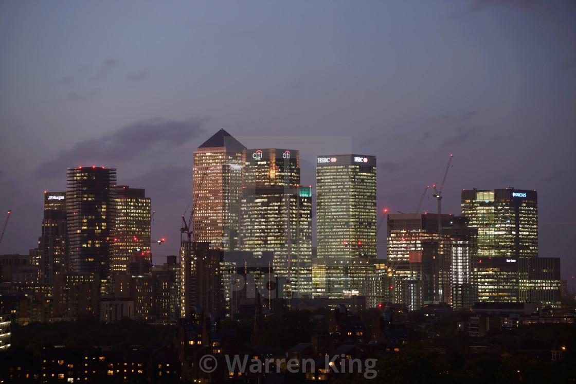 """Canary Wharf at Dusk, London #2"" stock image"