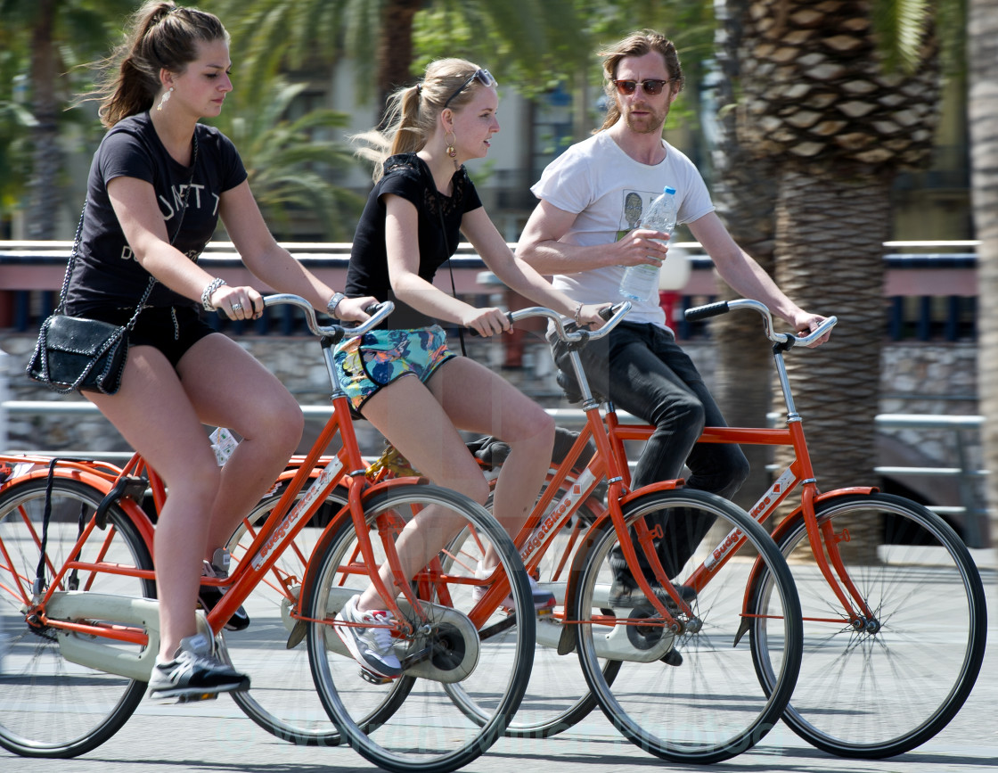 """City bike ride Barcelona"" stock image"