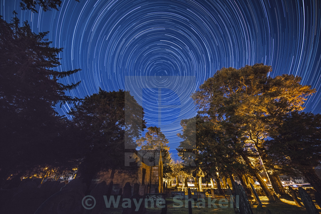 """Star Trails Over Snowdonia"" stock image"