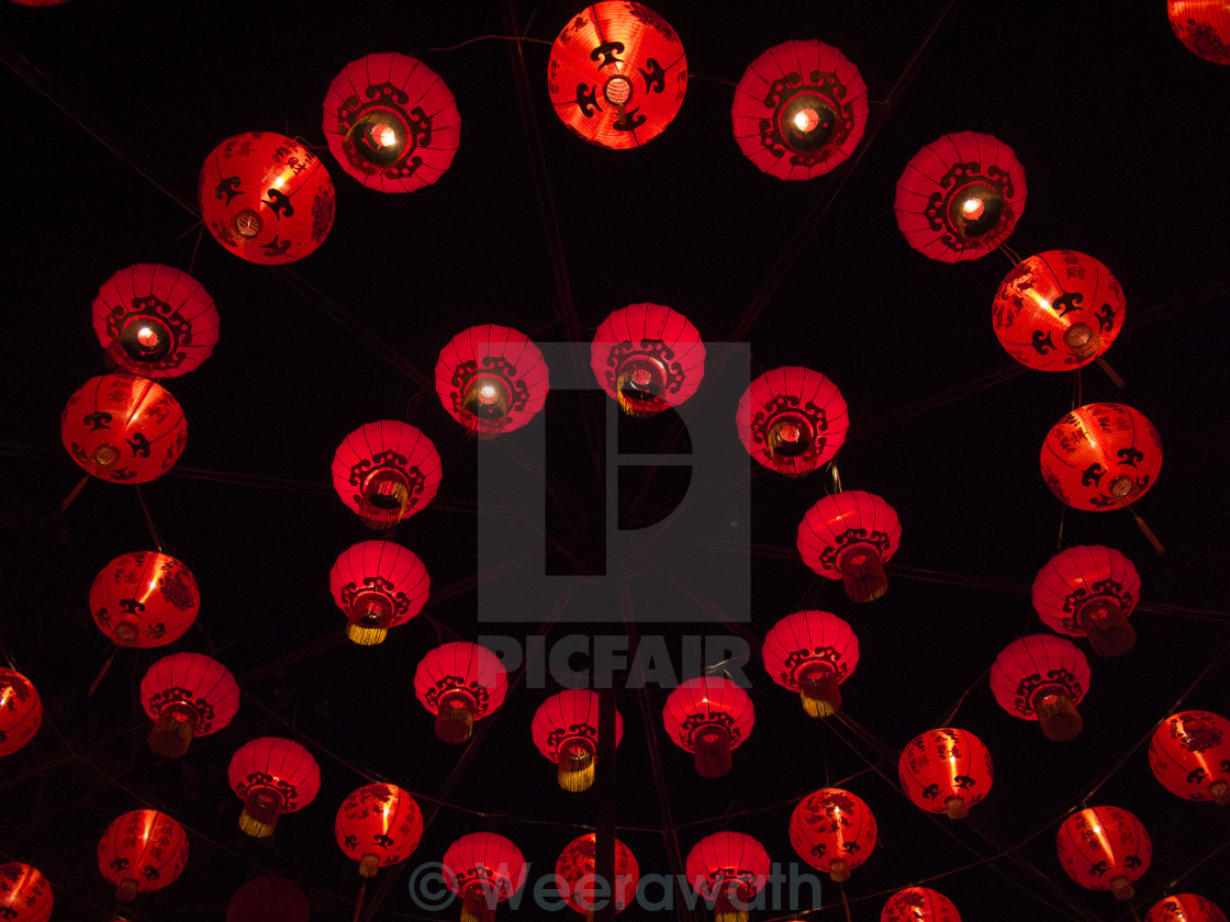 """red paper chinese lantern (circular layer formation) at night"" stock image"