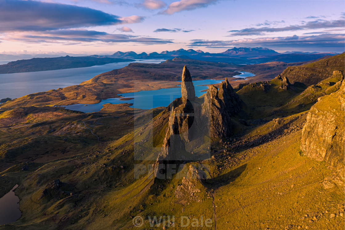 """Aerial view of the Old Man of Storr at sunrise, Isle of Skye, Sc"" stock image"