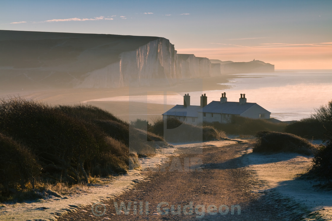 """Sussex Coast Guard Cottages"" stock image"