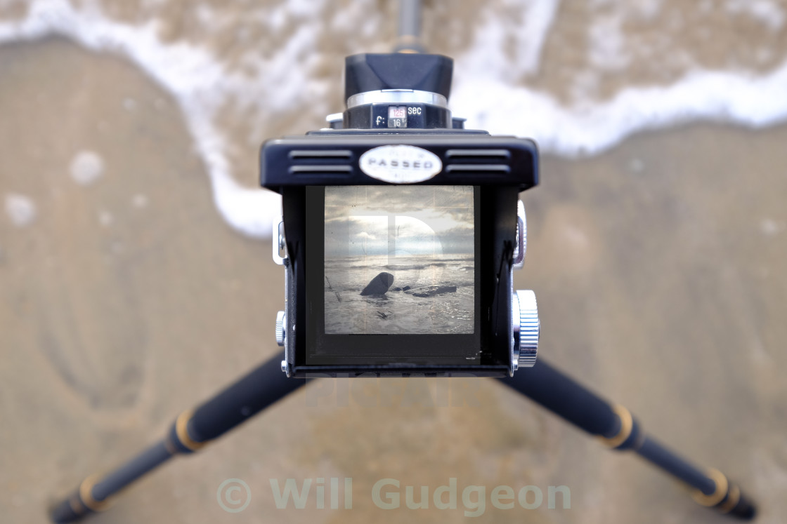 """Seascape through my TLR camera"" stock image"