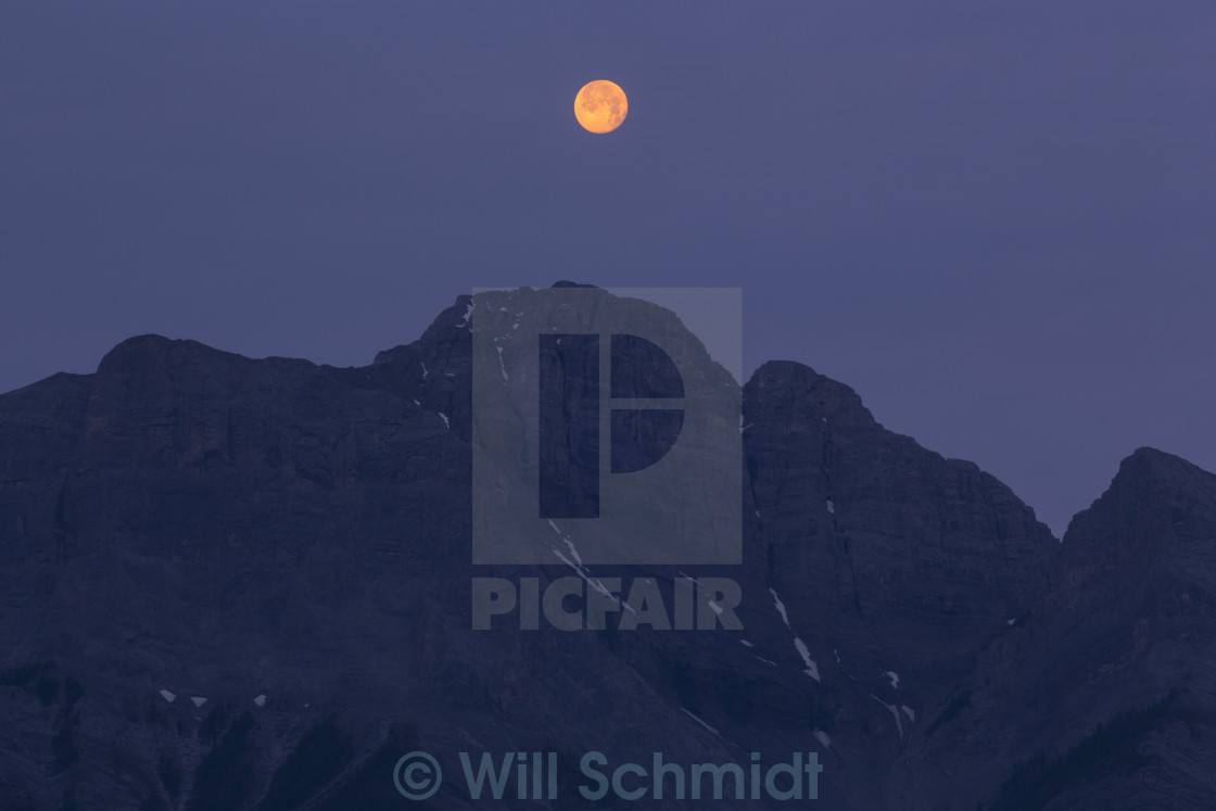 """Morning Sunlight on Setting Full Moon"" stock image"