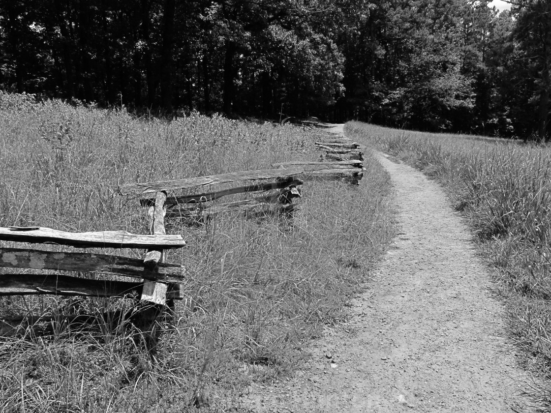 """""""Fences and Trail"""" stock image"""