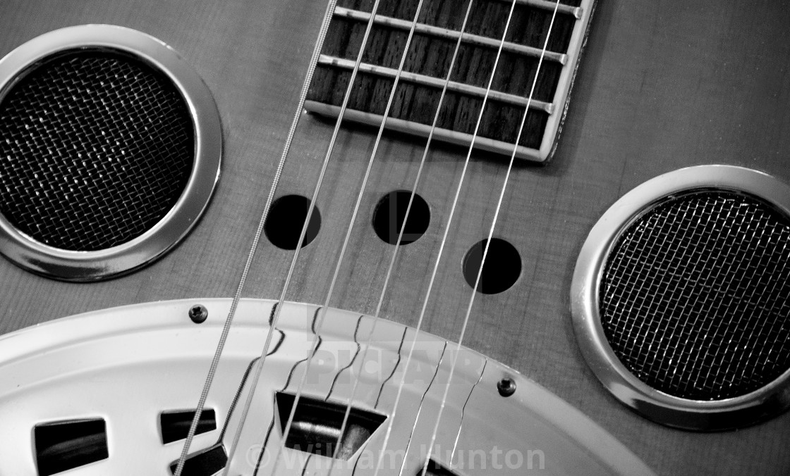 """""""Slide Guitar in Black and White Detail"""" stock image"""